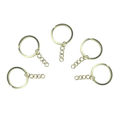 100x Stainless Steel Split Keyring Blank Hoop Nickel-Plated Loop Ring Link Chain
