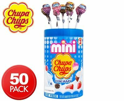 Mini Chupa Chups Creamy 50 Pack Assorted Flavour Candy Party Lollies Lolly Kids