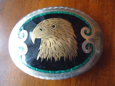 Belt Buckle JOHNSON & HELD Eagle's Head Vintage Handcrafted approx. 3.5 x 2.5 in