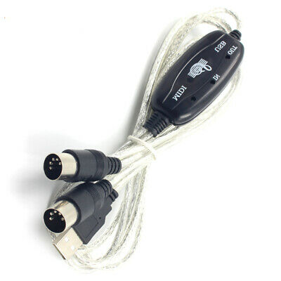 New USB IN-OUT MIDI Interface Cable Converter to Music Keyboard PC Adapter Cord