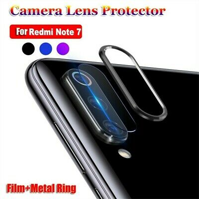For Xiaomi Redmi Note7 Camera Lens Protector Tempered Glass Film Metal Ring Case
