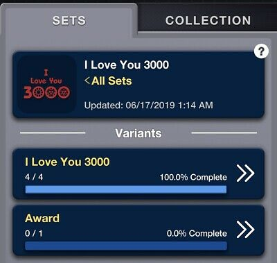2019 I LOVE YOU 3000 COMPLETE SET OF 4 Topps Marvel Collect Digital - No award