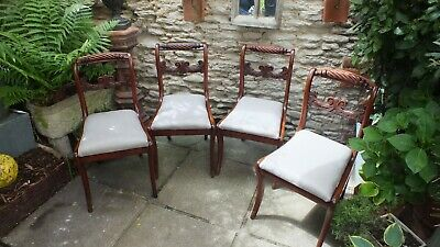 4 stunning Regency mahogany dining chairs