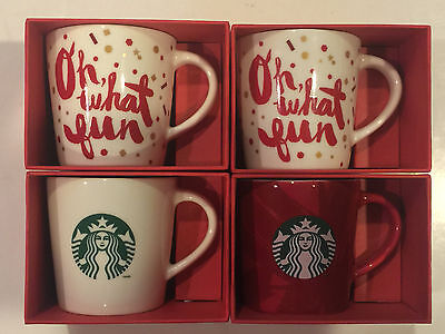 Starbucks Lot Of Four Holiday Demi Ceramic Cup 3 Oz  2013  Edition (New)