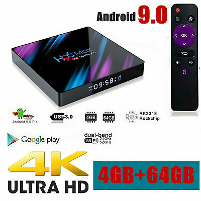 New H96 MAX 4GB+64GB Android 9.0 Quad Core TV Box 4K HD Media Player WIFI