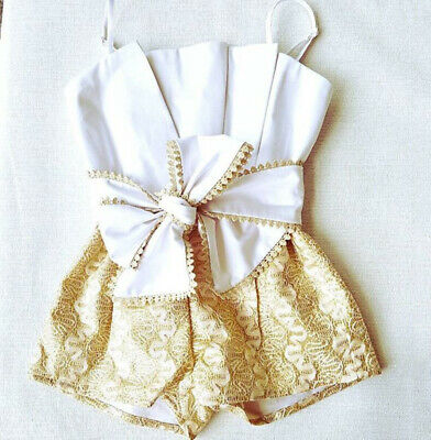 Summer Baby Kids Toddler Girl Bow Romper Lace Jumpsuit Clothes Playsuit Bodysuit