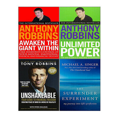 Unlimited Power,Unshakeable,Surrender Experiment By Anthony robbins 4 Books Set