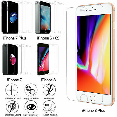 Tempered Glass Protection Screen Cover Clear For Apple iPhone 6/6s 7 Plus 8 Plus
