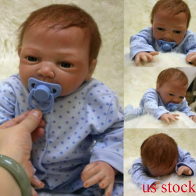 "20"" Reborn Lifelike Baby Silicone Vinyl Newborn Baby Boy Doll Blue Eyes Gift New"