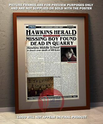 Stranger Things Fake Newspaper Poster - A3 Size