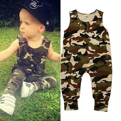 Newborn Baby Boys Girls Camo Romper Bodysuit Jumpsuit Outfits Set Playsuit 0-24M