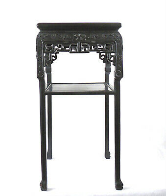 A Large Chinese, 19th C Qing Dynasty Blackwood Side Table Marble Top