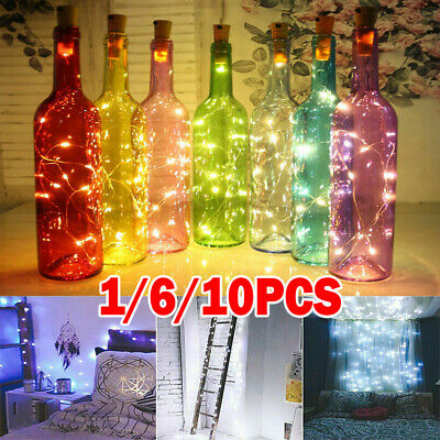 Wine Bottle Fairy String Lights Battery Cork Shaped Christmas Wedding Party LED