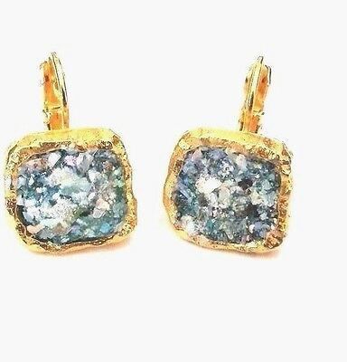 Roman Glass Earrings Gold P. Fragments Ancient 200 B.C Square Dangle Holy Land
