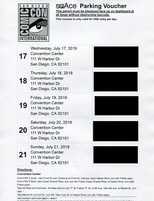 2019 SDCC San Diego Comic Con CONVENTION CENTER 5 Day Parking Pass July 17-21