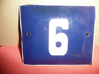 "VTG Reclaimed Blue&White ENAMEL METAL House,Flat,Cottage Number,""6or9"" Authentic"