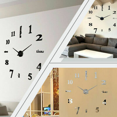 3D Large Number Mirror Wall Clock Sticker Decor Home Office Kids Room Art Decal