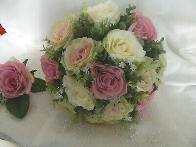 Wedding Flowers wedding silk rose Bouquet Bride Bridesmaid posy Flower Girl pink