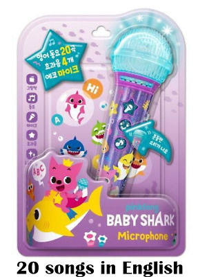 Pinkfong Baby Shark Singing Microphone 20 English Songs and Book 4 Funny Sounds