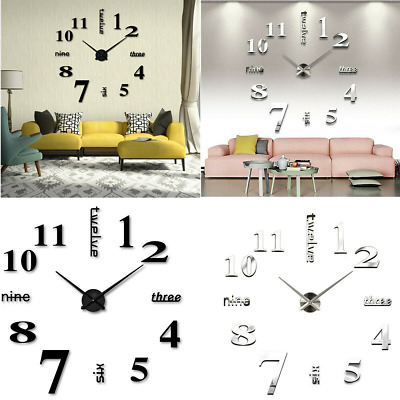 Large Number Wall Clock 3D Mirror Sticker Modern Home Office Decor Art Decal DIY