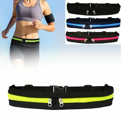 Dual Pocket Running Runner Waist Belt Bag Pack Pouch Bum Sport Jogging Gym Hu