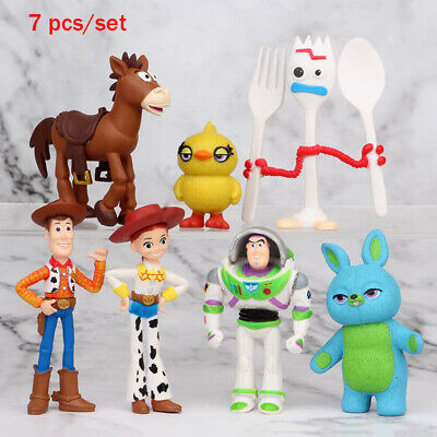 7PCS Toy Story 4 Woody Jessie Buzz Lightyear Animated Action Figure Cake Topper