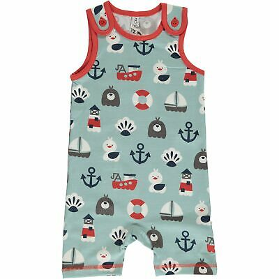 Maxomorra Blue ocean organic cotton short dungarees | 9-12 18-24 2 3 4 Seaside
