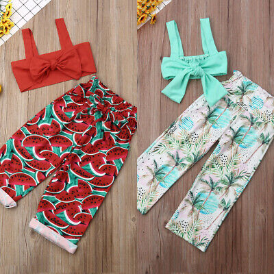 2PCS Toddler Kids Baby Girl Clothes Solid Tops+Pant Trousers Outfits Set Sunsuit