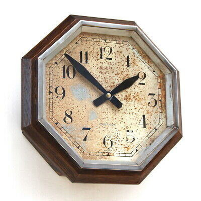 GARRARD 50s/60s Oak cased Railway Midcentury Vintage Industrial Wall Clock