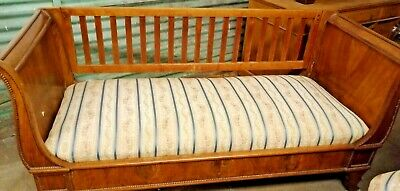 Antique Edwardian Day Bed/Sofa Wooden Sleigh