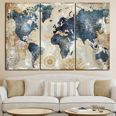 KQ_ IT- 3Pcs World Map Modern Wall Oil Canvas Painting Print Home Decor Unframed