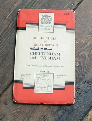 Old Os Map Cheltenham & Evesham 1962 1 Inch  Glos Worcs Ordnance Survey Map 144