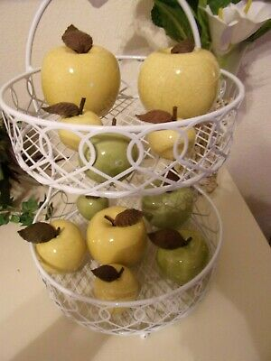 10 Hand Blown Glass Granny Smith Apples~Metal Stem~Small To Large~& ~1 Pear