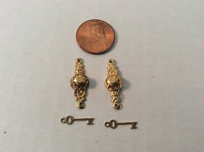 VTG 1:12 scale Dollhouse Houseworks LTD set of 2 GOLD Doorknob w/ skeleton keys