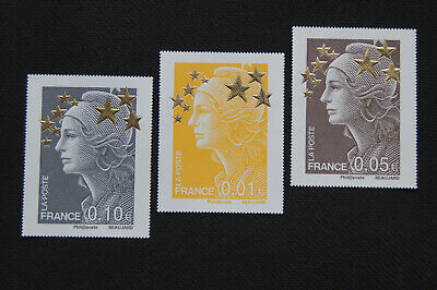 3 Timbres Maxi Format - Marianne aux Etoiles d'or - 0.01€ - 0.05€ - 0.10€