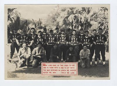 fantastic WWII 1942 RARE Vintage Photo  Pearl Harbor Red Devils Baseball Rare