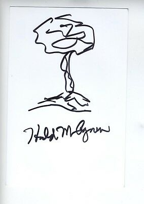 HAROLD AGNEW Manhattan Project Atom Bomb Signed Sketch Drawing Autograph 4x6