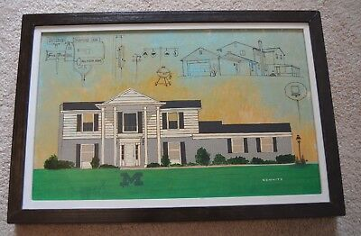 Milton Kemnitz 1979 Neighbors Michigan Great Lakes Acrylic Painting Framed