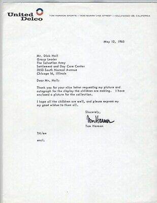 Tom Harmon Signed Letter ~ 1940 Heisman Wolverines 1965 Salvation Army Delco