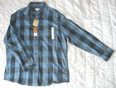 New Sonoma Men's 2XL Flannel Shirt Blue Plaid with Factory Tags This shirt is br