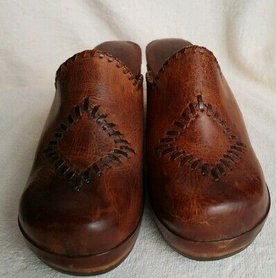 True Vintage Wood Clogs 1970's Brown Leather Town Flair Italy Sz 7M EUC