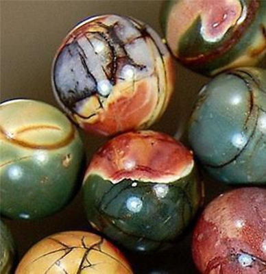 Natural 8Mm Multicolor Picasso Jasper Gemstone Round Ball Loose Bead Strand 15''