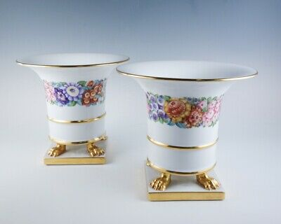 Superb Vintage Large Pair Herend Hand Painted Floral Gilded Footed Urns