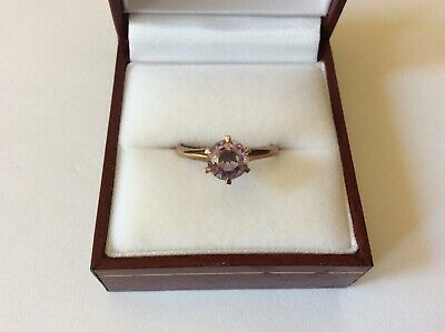 Antique Art Deco 10K Rose Gold Prong Amethyst Solitaire Ring Size 7 1/4