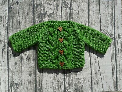 Hand knitted baby cardigan apple green unisex 0-3 months