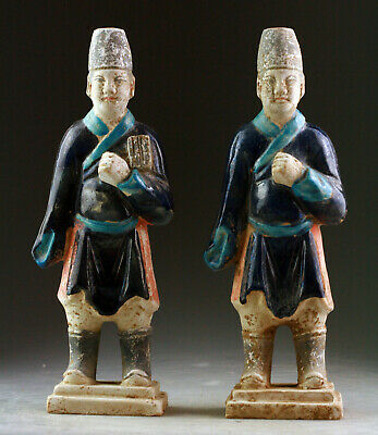 *Sc*Superb Set Of 2 Chinese, Ming Dynasty Tomb Pottery Attendants, 1368-1644!