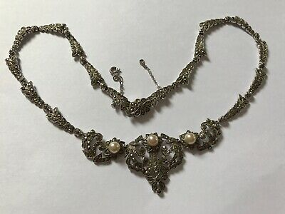 Antique Art Deco silver marcasite pearl necklace. Weight 49 grams