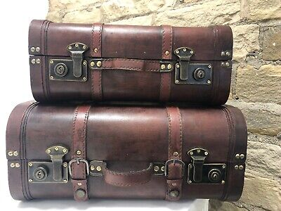 Vintage Suitcases Treasure Chest Wooden Trunk Wedding Gift Card Box X 2