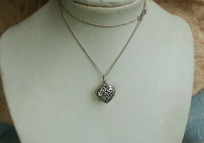 Old Vintage Sterling Silver Pierced Romantic Heart Locket Pendant and Chain