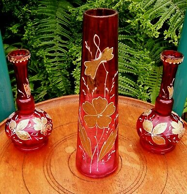 Lovely Antique Victorian Cranberry Glass Trio Embellished With Gold Decoration